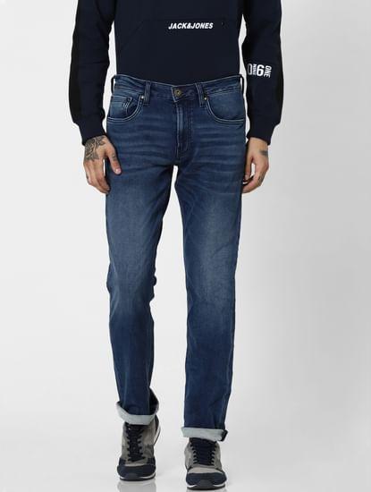 Dark Blue Low Rise Clark Regular Fit Jeans