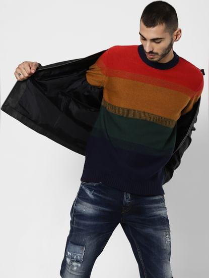 Orange Colourblocked Pullover