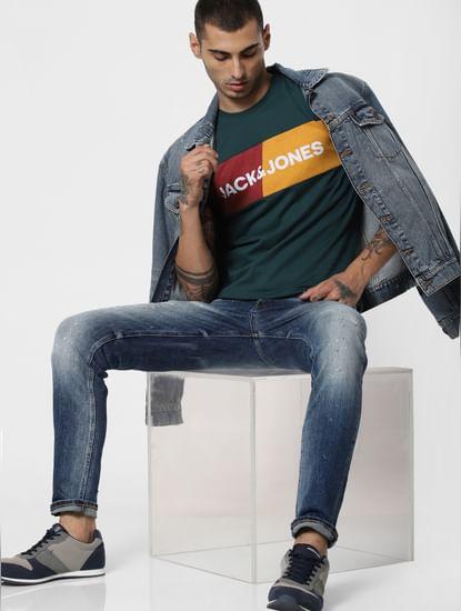 Green Logo Print Crew Neck T-Shirt