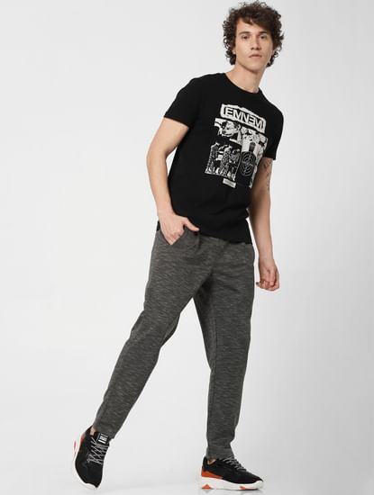 Green Mid Rise Printed Sweatpants