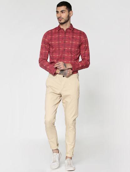 Beige Low Rise Slim Fit Pants