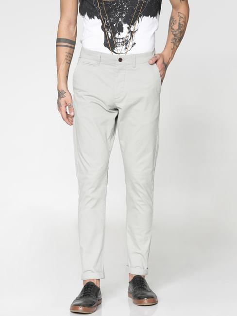 Grey Low Rise Slim Fit Pants