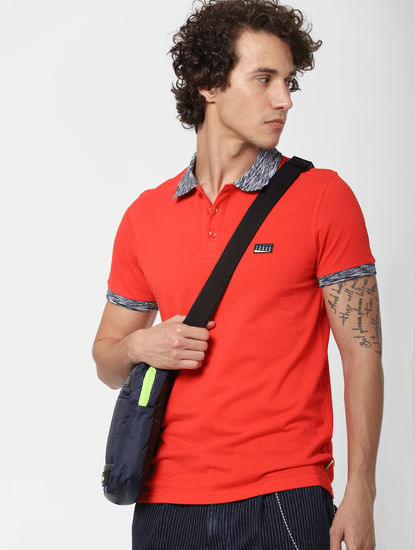 Red Contrast Tipping Polo Neck T-shirt