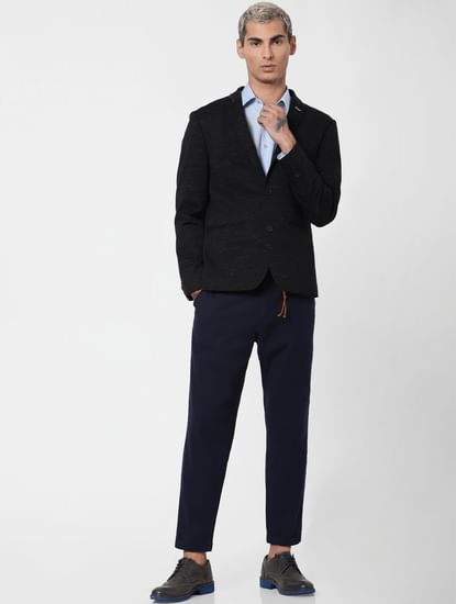 Navy Blue Low Rise Linen Slim Pants