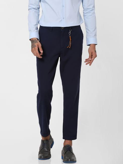 Navy Blue Low Rise Linen Slim Pants