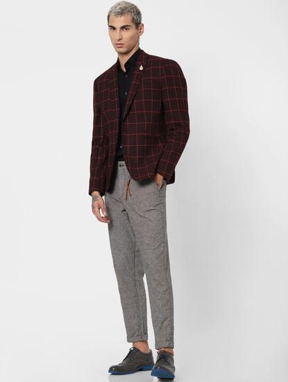 Grey Low Rise Linen Slim Pants
