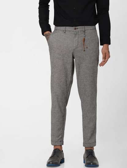 Grey Low Rise Linen Slim Pants
