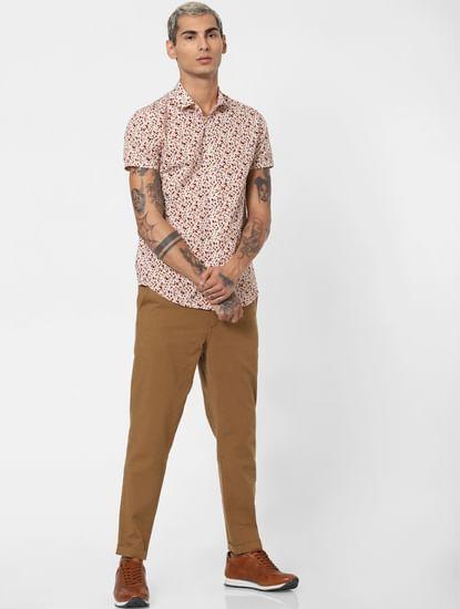 Brown Low Rise Linen Slim Pants