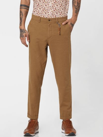 Brown Low Rise Linen Slim Pants