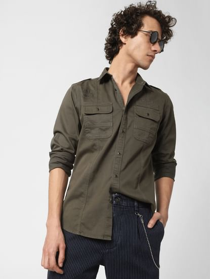 Olive Logo Print Full Sleeves Shirt