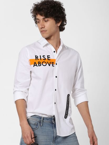White Text Print Full Sleeves Shirt