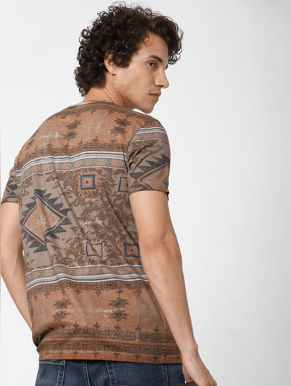 Brown Abstract Print Crew Neck T-shirt