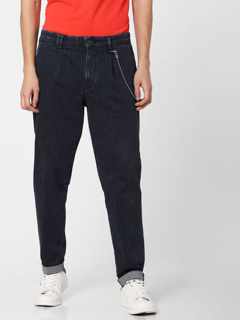Blue Low Rise Striped Slim Fit Jeans