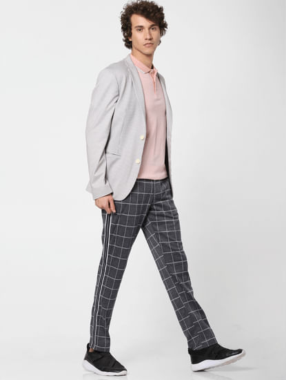 Grey Low Rise Check Print Pants