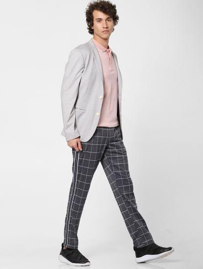 Grey Low Rise Check Print Pants