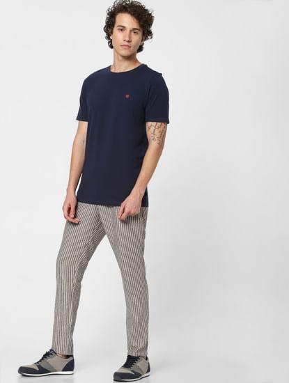 Beige Low Rise Striped Linen Pants