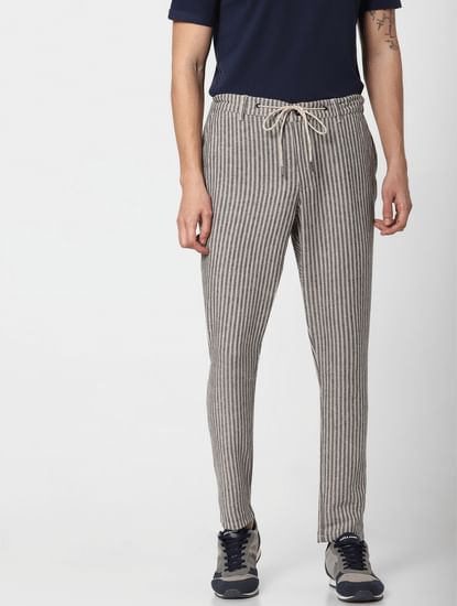 Beige Low Rise Striped Linen Pants
