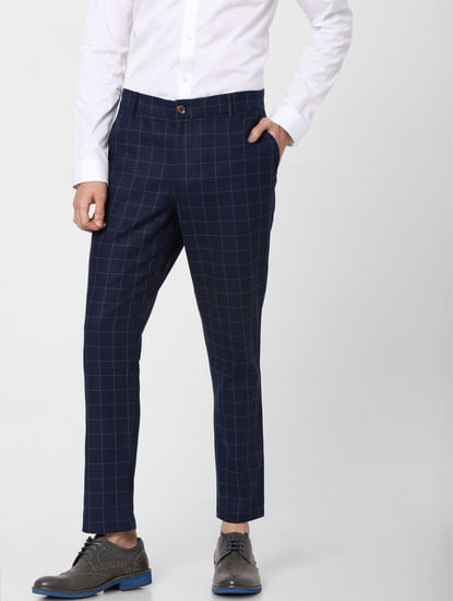 Blue Low Rise Check Linen Pants
