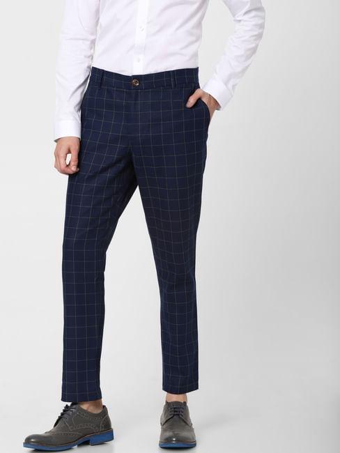 Blue Low Rise Check Linen Pants