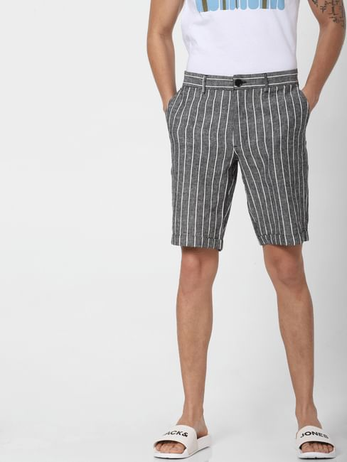 Grey Low Rise Striped Chino Shorts