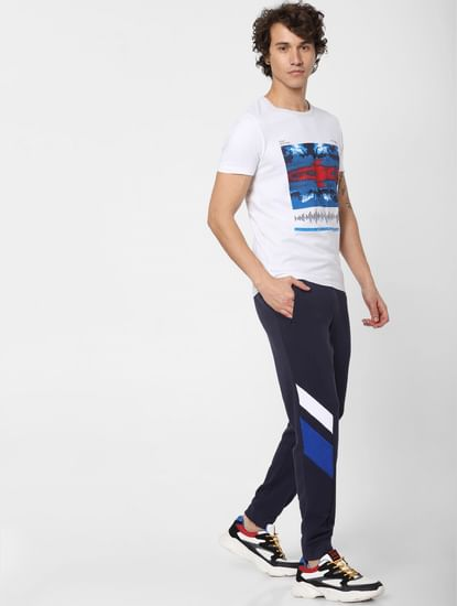 Blue Low Rise Colourblocked Sweatpants