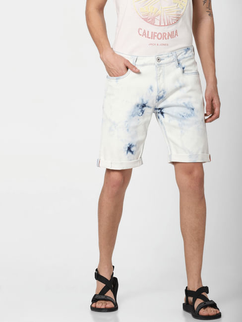 Blue Low Rise Acid Washed Denim Shorts