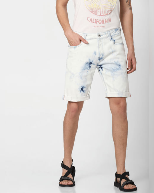 Blue Low Rise Acid Washed Denim Shorts