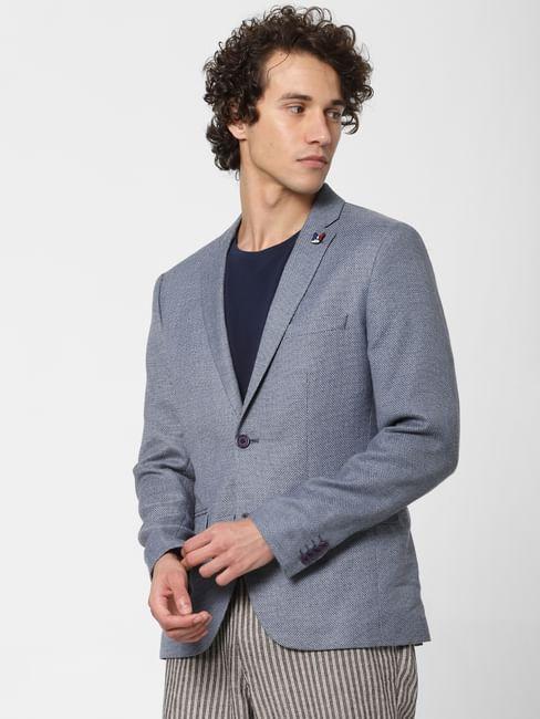 Blue Textured Linen Blazer