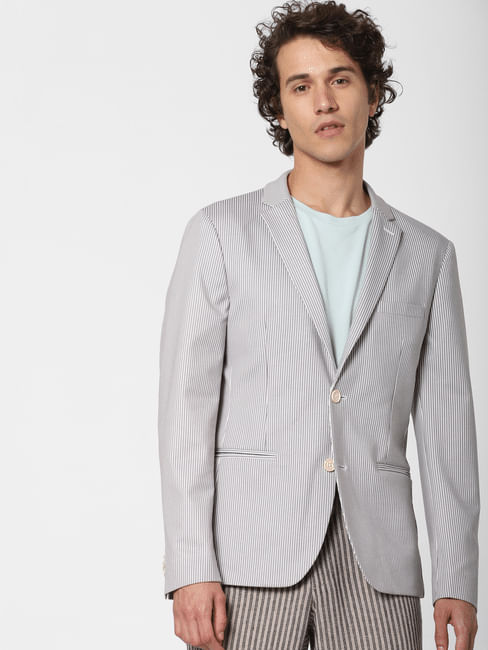 White Striped Linen Blazer