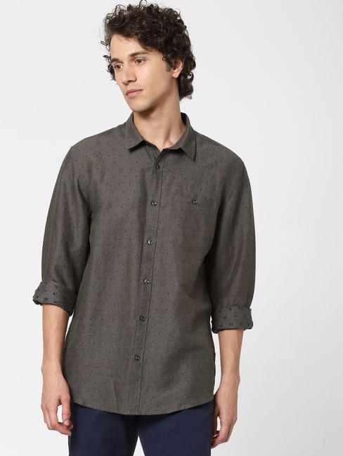 Olive Printed Full Sleeves Shirt