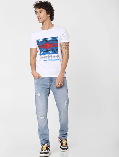 Blue Low Rise Distressed Tim Slim Fit Jeans