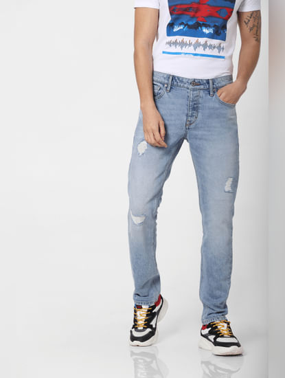 Blue Low Rise Distressed Tim Slim Fit Jeans