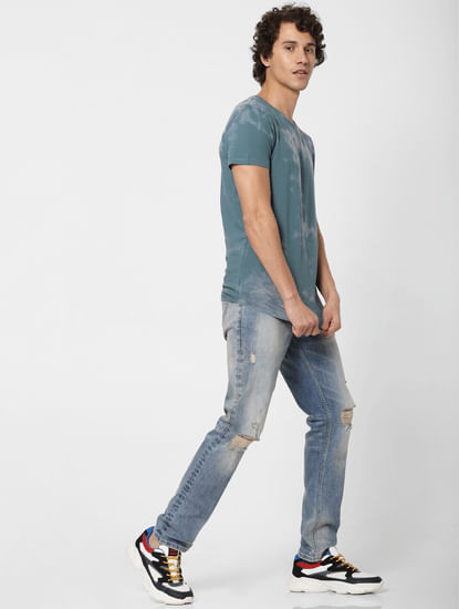 Blue Low Rise Ripped Tim Slim Fit Jeans