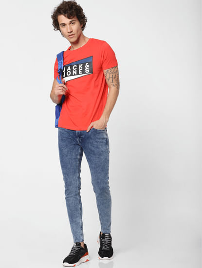 Blue Low Rise Washed Tom Super Skinny Jeans