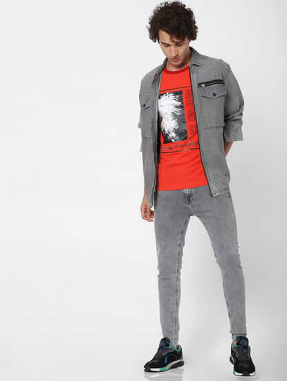 Grey Low Rise Washed Tom Super Skinny Jeans