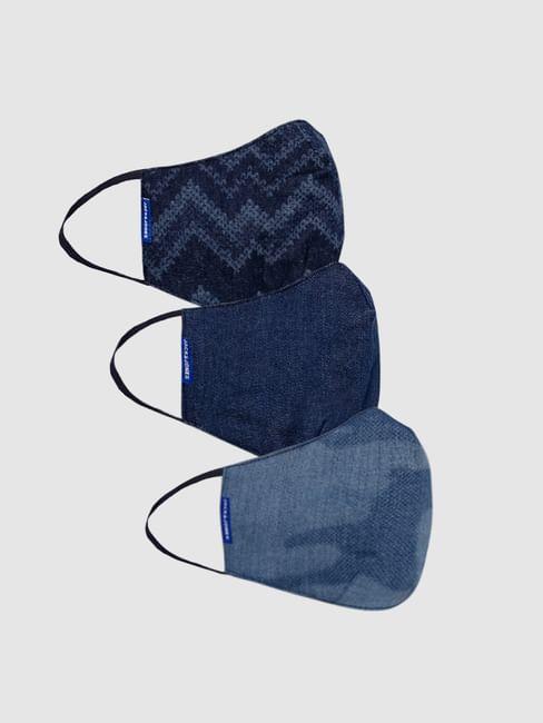 Pack of 3 Blue Lightweight Denim 3PLY Mask