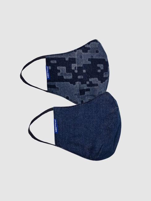 Pack of 2 Blue Lightweight Denim 3PLY Mask