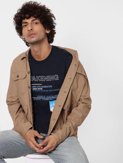 Dark Blue Text Print Crew Neck T-shirt