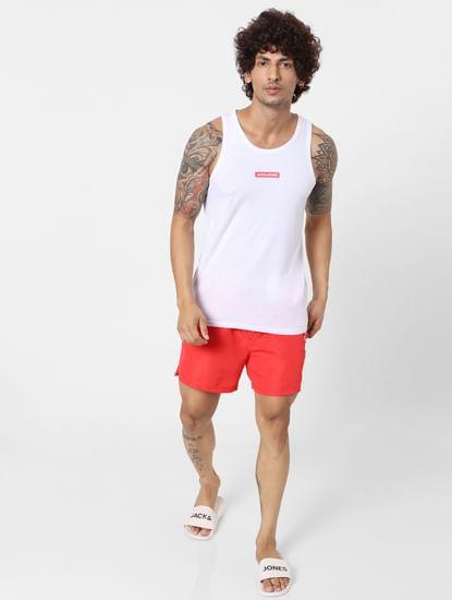 White Logo Print Vest