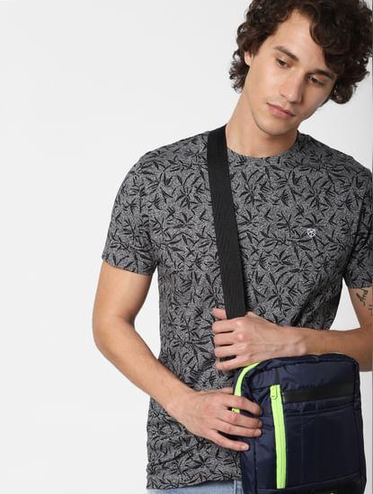 Black All Over Print Crew Neck T-Shirt