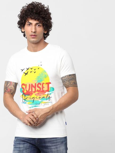 White Sunset Graphic Print Crew Neck T-shirt