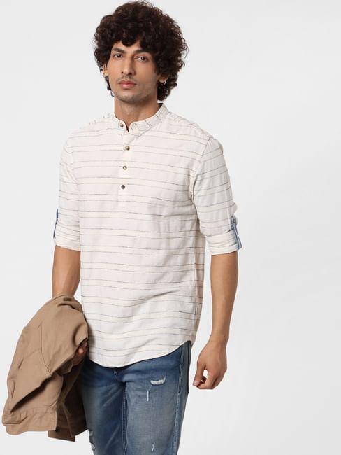 Beige Full Sleeves Striped Linen Shirt