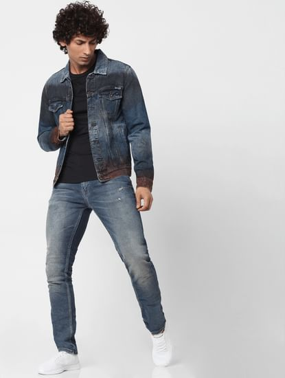 Blue Mid Rise Ben Skinny Fit Ripped Jeans