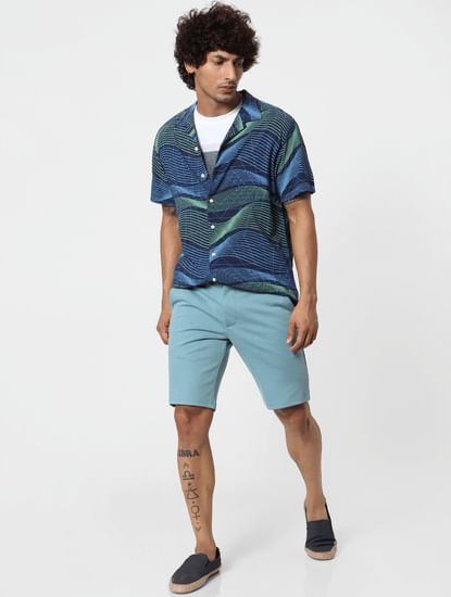 Blue Mid Rise Chino Shorts