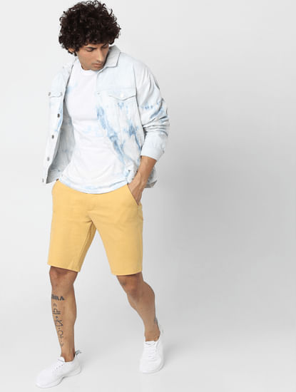 Yellow Mid Rise Chino Shorts