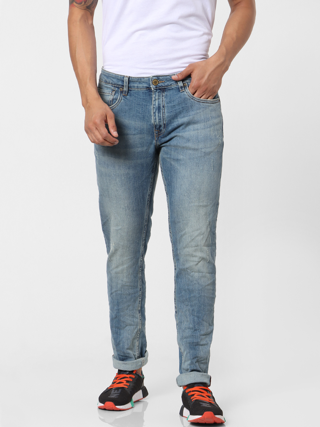 Light Blue Mid Rise Ben Skinny Fit Jeans