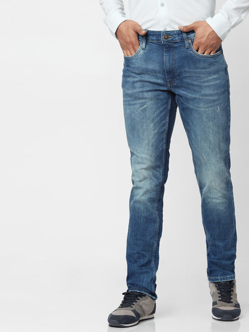 Medium Blue Mid Rise Glenn Slim Fit Jeans
