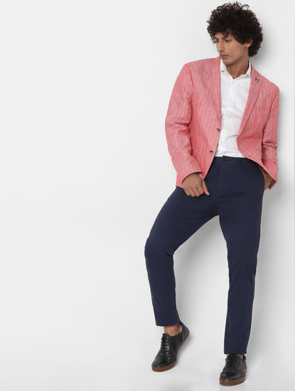 Crimson Striped Slim Fit Linen Blazer