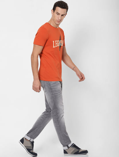 Grey Mid Rise Glenn Slim Fit Jeans