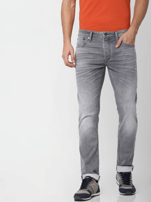 Grey Mid Rise Glenn Slim Fit Jeans